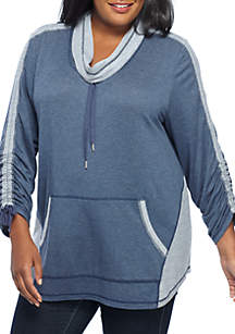 Plus Size Must Haves Athleisure Cowl Pullover Ruched Sleeve Top