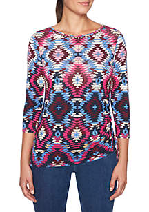 Petite Must Haves I Geometric Side Ruched Top