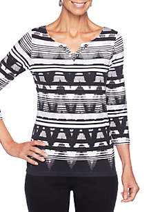 Petite Must Haves I Striped Ikat Knit Top