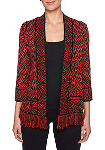 Petite Size Must Haves Tribal Printed Cardigan