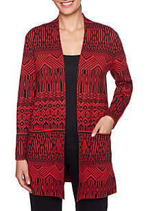 Petite Must Haves Open Front Jacquard Cardigan