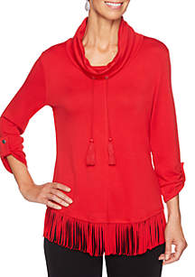 Petite Must Haves Cowl Neck Pullover