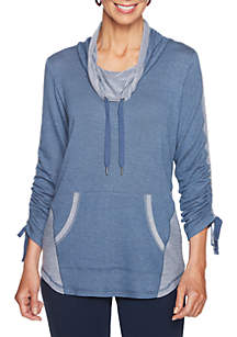 Petite Size Must Haves Athleisure Cowl Neck Pullover