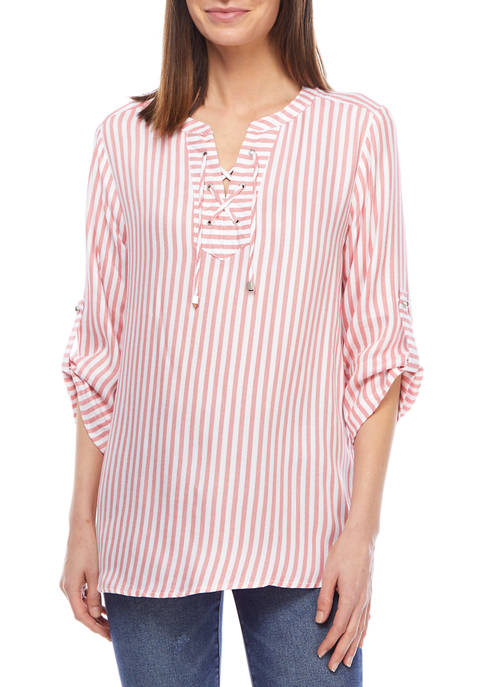 Ruby Rd Womens Classic Coastal Striped Lace Front