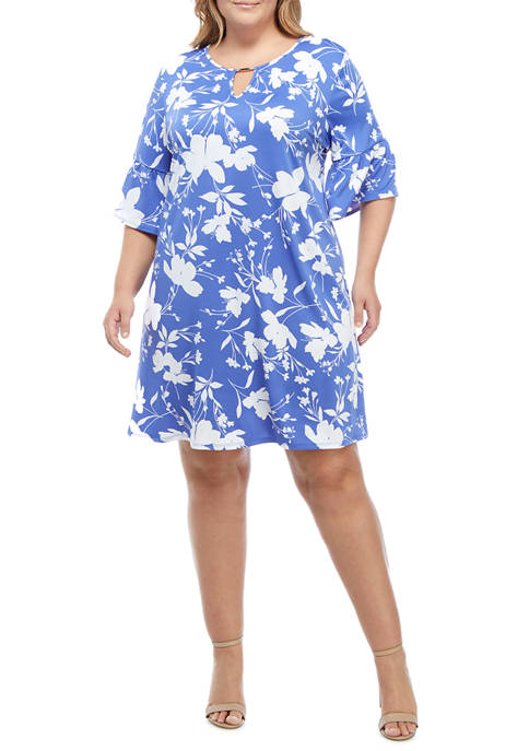 Ruby Rd Plus Size Wildflower Puff Printed Dress