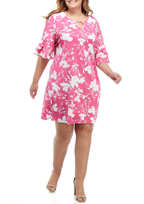 Plus Size Wildflower Puff Printed Dress