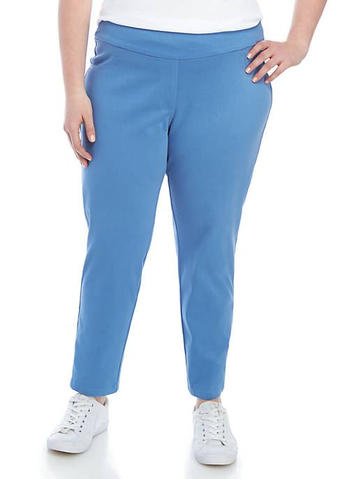 Plus Size Pull On Knit Twill Ankle Pants