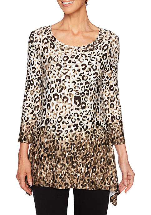 Must Haves Shark Bite Ombre Leopard Knit Top