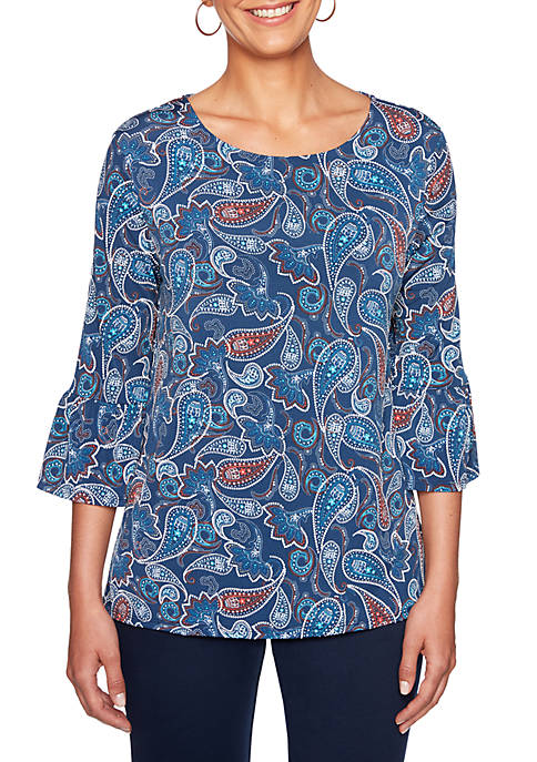 Ruby Rd Must Haves Flounce Sleeve Paisley Puff