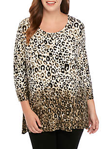 Ruby Rd Plus Size Shark Bite Embellished Leopard Knit Top