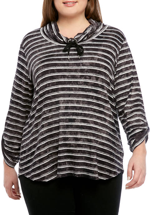 Ruby Rd Plus Size Cowl Neck Stripe Pullover