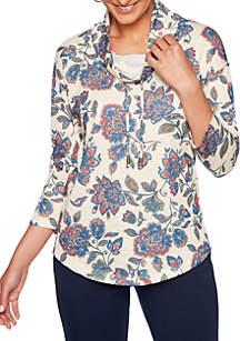 Ruby Rd Petite Must Haves Printed Floral Cowl Top