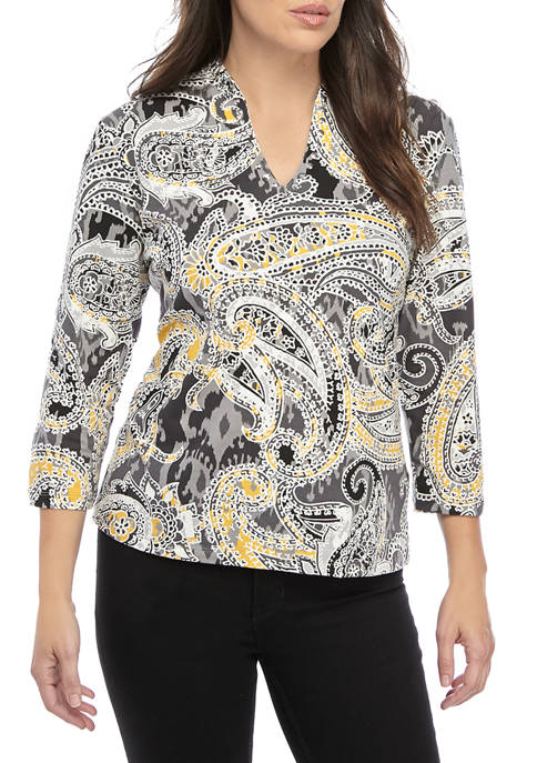 Ruby Rd Must Haves Embroidered V-Neck Paisley Knit