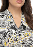 Must Haves Embroidered V-Neck Paisley Knit Top