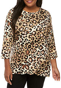 Ruby Rd Plus Size Must Haves Scoop Neck Ombre Animal Knit Top
