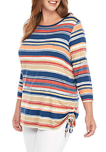 Ruby Rd Plus Size Must Haves Cinch Side Autumn Stripe Top