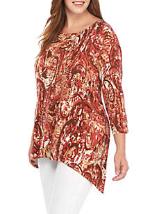 Ruby Rd Plus Size Must Haves Shark Bite Mosaic Knit Top