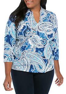 Ruby Rd Plus Size Split Neck Paisley Knit Top