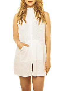 Sleeveless Zip Front Cover Up Dress
