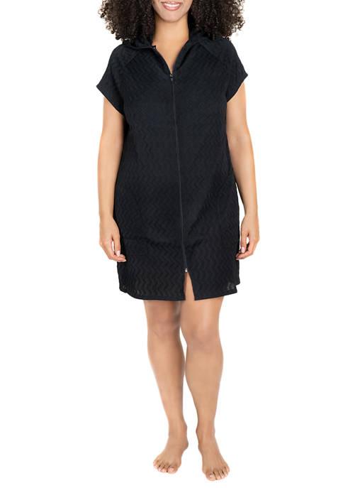 Plus Size Zip Beach Cover Up Dress