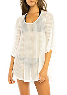 Scoop Neck Bell Sleeve Cover Up Swim Tunic