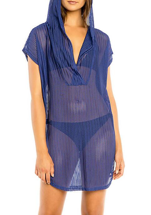 Short Sleeve Hooded Cover Up Swim Tunic