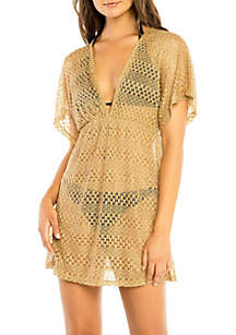 V-Neck Cover Up Dress with Dolman Sleeves