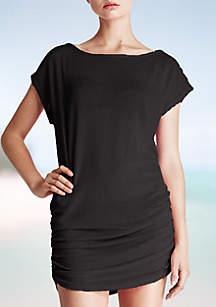 Side Shirring Tunic Swim Cover Up