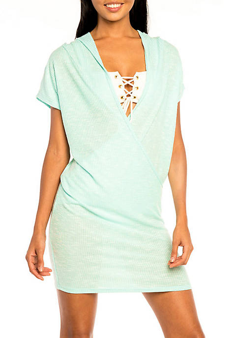 Jordan Taylor Wrap Front Hooded Cover Up Dress