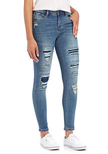 Roll Destructed Rip & Repair Skinny Jeans