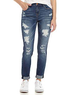 High Rise Rolled Destroyed Skinny Rip & Repair Jeans