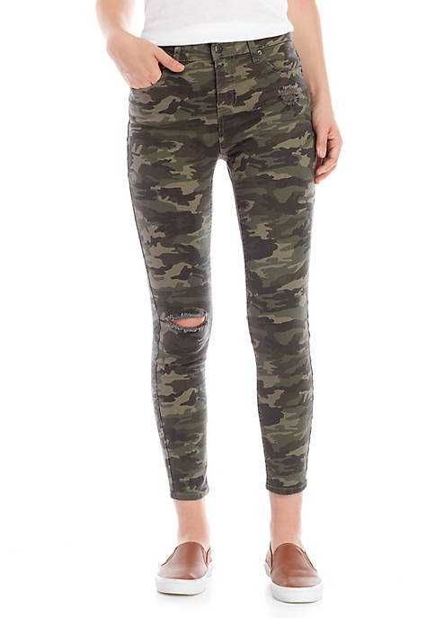 Exposed Button Desert Camo Jeans