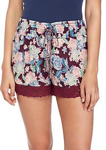 Crochet Hem Smocked Waist Print Shorts