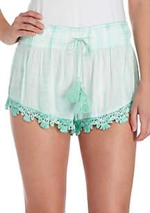 Tie Dye Crochet Smocked Waist Shorts