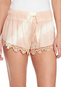 Tie-Dye Crochet Smocked Waist Shorts