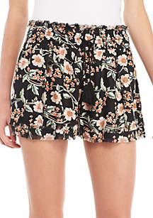 Floral Smock Waist Frayed Hem Tassel Shorts