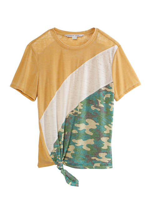 Juniors Short Sleeve Color Block Tie Front T-Shirt