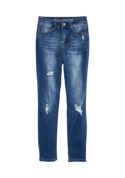 Super High Rise Skinny Destructed Jeans