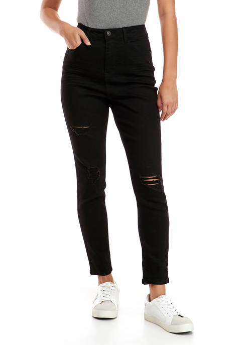 Juniors Super High Rise Destructed Skinny Jeans