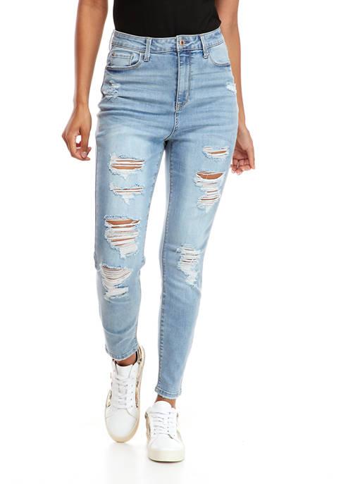Juniors Super High Rise Skinny Destructed Jeans