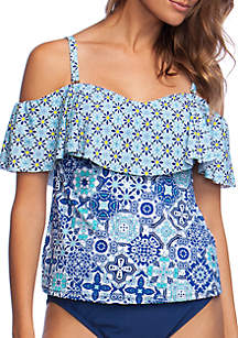 24th and Ocean Stain Glass Mosaic Over the Shoulder Swim Tankini