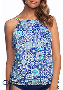 24th and Ocean Stained Glass Mosaic Print High Neck Tankini