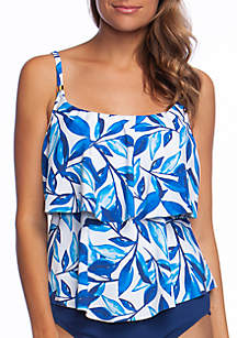 24th and Ocean Laila Leaf Tiered Tankini Top