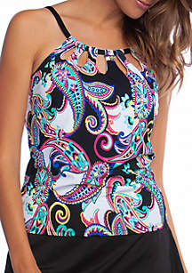 24th and Ocean Paisley Swirl High Neck Swimsuit Tankini Top
