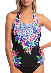 24th and Ocean Tropical Vibin Retro Swim Tankini Top