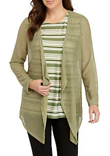 New Directions® Long Sleeve Crochet Cardigan with Printed Tank 2Fer Top