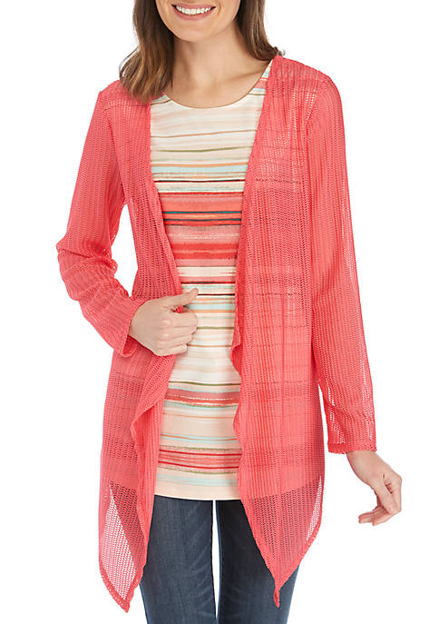 New Directions® Long Sleeve Crochet Cardigan with Printed