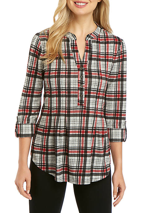 New Directions® 3/4 Sleeve Plaid Henley Shirt