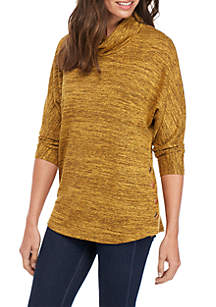 Three-Quarter Sleeve Cowl Neck Hacci Tunic With Buttons