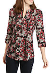 3/4 Sleeve Floral Hacci Knit Henley Top